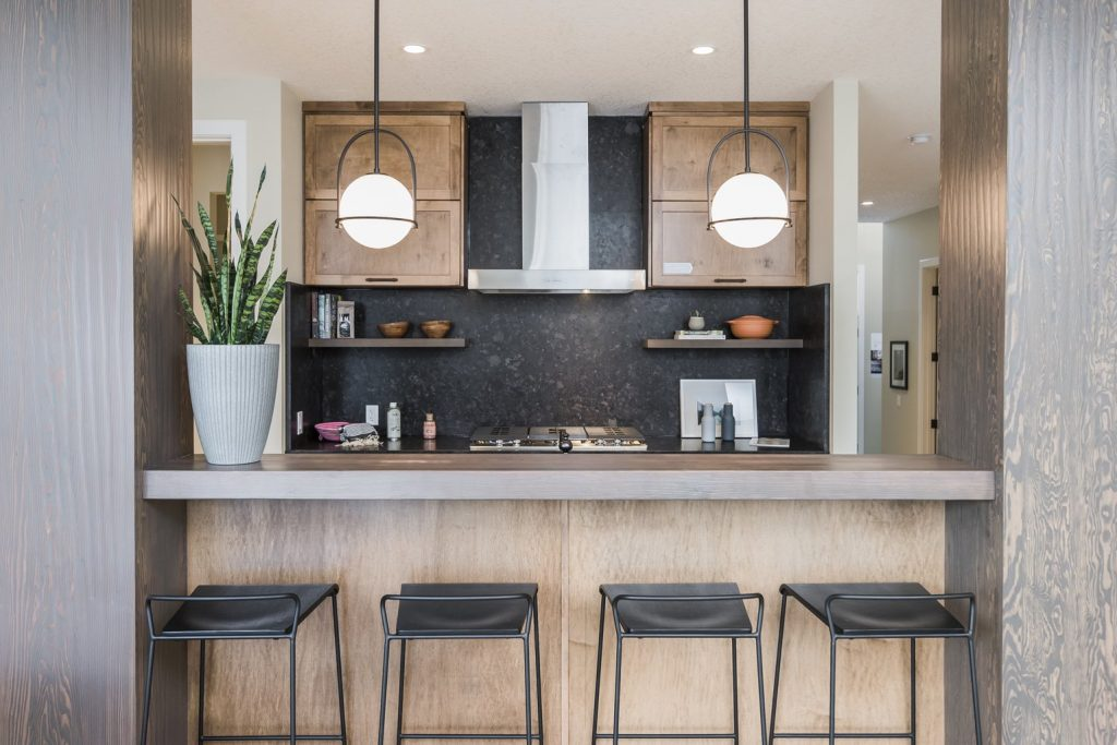 modern kitchen with great lighting and texture