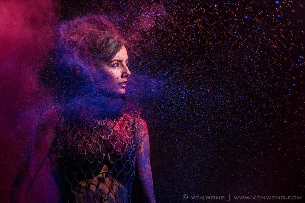 colorful fashion portrait with color powder