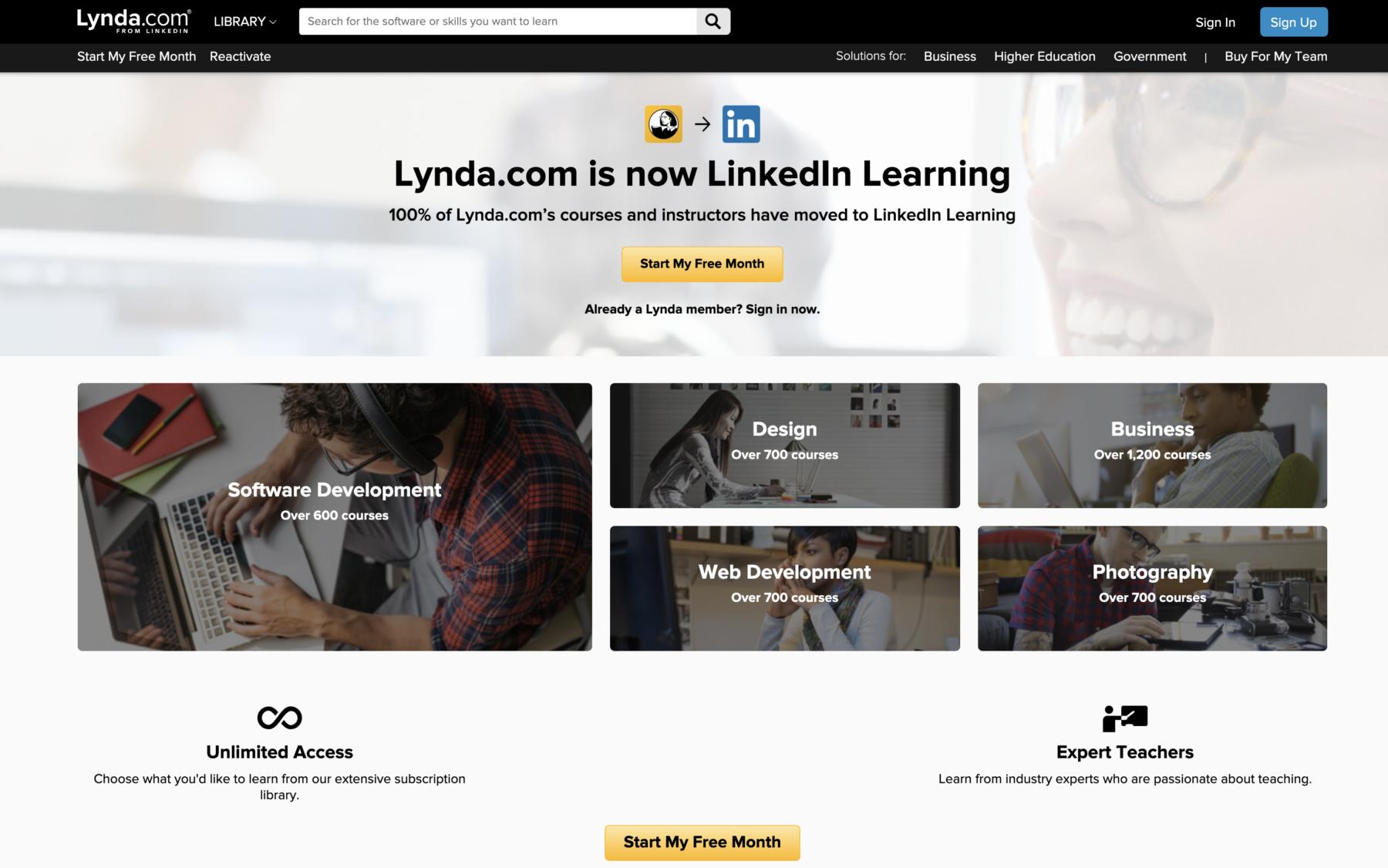 Lynda.com tutorials for photographers and content creators