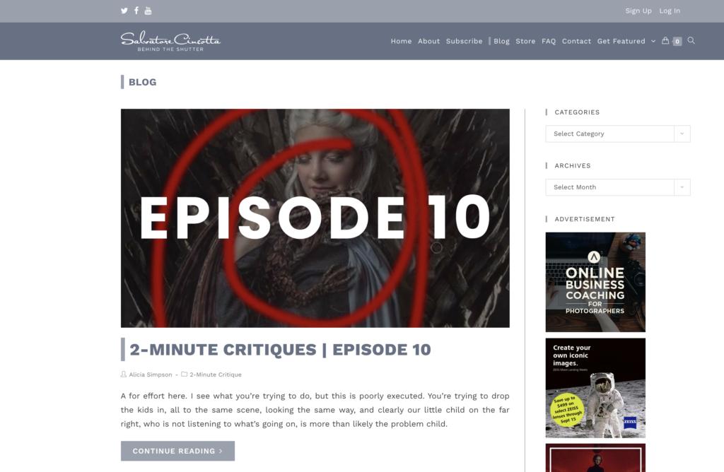 Salvatore Cincotta blog and Behind the Shutter Magazine