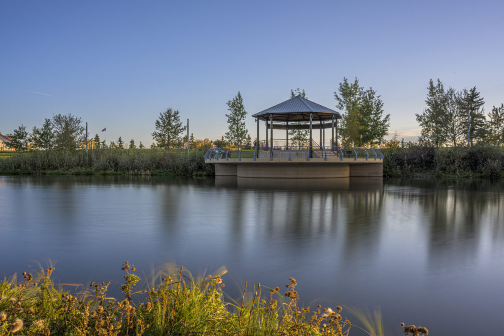 photograph in calgary of the music pavilion at the east village