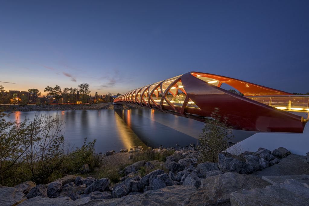 photograph in calgary of the peace bridge in downtown